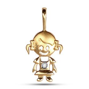 Pingente Em Ouro 18k Menina Com Diamante 1 Ponto por Rosana Joias e Relógios bdcc138137