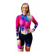 Macaquinho Ciclismo Feminino Elite Beach Rosa Ml