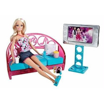 Salon De Estar Casa Muñeca Barbie Con Tv Original Mattel