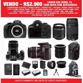 Canon Eos Rebel T3 C/ Lentes Acessórios E Case