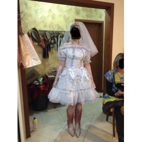 Vestido De Noiva Junino Enfeitado Adultos Com Renda De Bico
