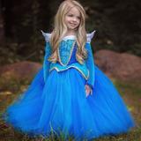 Fantasia Vestido Princesa Aurora Bela Adormecida Luxo Festa