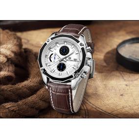 Relógio Masculino Social De Couro Ponteiro Exclusividade !!!
