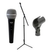 Combo Microfono Profesional Shure + Soporte + Cable +pipeta