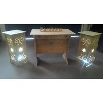Kit 1 Mesa, 2 Cubos Iluminação Provençal Mdf Cru Arabesco