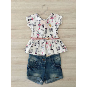 Conjunto Infantil Menina Marisol 1p Blusa Short Cinto