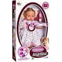 Boneca Angelina 62 Frases Com Mamadeira 211 - Milk Brinqu...