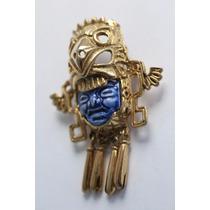 Prendedor Chapa De Oro Guerrero Águila Azteca