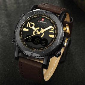 Relógio Pulseira Em Couro Militar + Caixa Personalizada