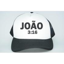 Boné Trucker Religioso Deus Evangélico Fé Jesus João 3:16