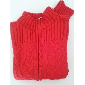 Sweater System Basic Campera Tejida Roja Lana Trenzada Cierr