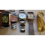 Lote Com 5 Relógios De Pulso Diversos Com Defeitos Variados