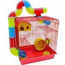 Gaiola 3 Andares Para Hamster Labirinto Com Tubos Vermelha