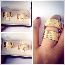 Aliancas De Moeda Par 12mm Casamento Noivado Cor Ouro 18k