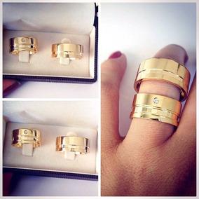 Aliança De Moeda Par 12mm Casamento Noivado Cor Ouro 18k