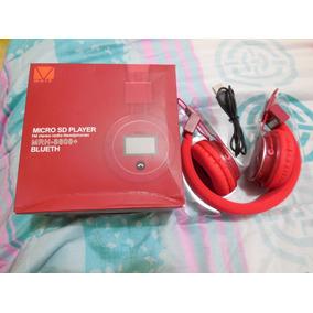 Audifonos Bluetooth Radio Fm Mirosd Bateria Recargable Rojos