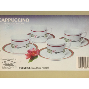 Set De 4 Tazas Con Platos Capuccino De Porcelana