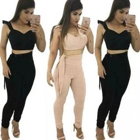 Conjunto Cropped E Calça Laço Lateral Cintura Alta Feminina