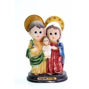 Imagem Sagrada Família Infantil Em Resina Baby Criança 15cm