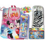 Set Escolar De Minnie Mouse Bolso+termo+lápices+rompecabeza