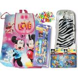 Set Escolar De Minnie Mouse Bolso+termo+lápices+rompecabeza