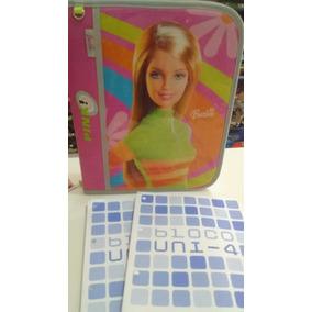 Fichário Barbie + 2 Blocos Com 96 Folhas
