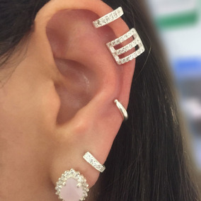 Piercing Fake Brinco Ear Hook Cravejado Pressão Prata 925