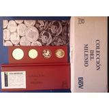 Coleccion 4 Monedas Segundo Milenio Madera Banxico 2000 Lujo