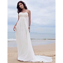 Vestido De Novia Talla 34-36 Blanco Corazon Playa Imperio