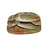 Escultura Egipcia Escarabajo De Piedra Con Jeroglíficos