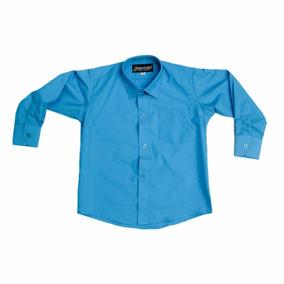 Camisa Manga Larga De Vestir Azul Turquesa Y Tirantes Y Moño
