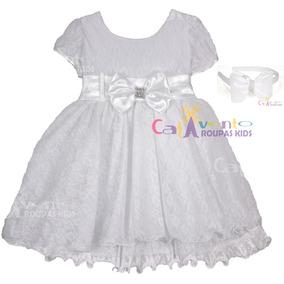 Vestido Infantil De Batizado Com Tiara De Brinde Tam 1 Ao 4