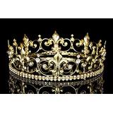 Ornate 2 Tall Fleur De Lis Full King Crown - Gold Plated Cl