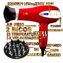 Secador De Cabelo Profissional 2200w Difusor Cachos Íon 220v