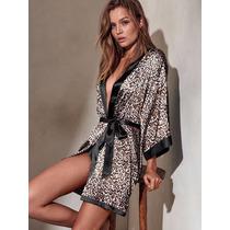 Victorias Secret Robe Saten Kimono Bata Seda Raso Talle M/l