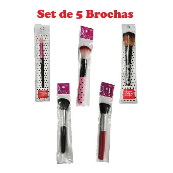 Set De Brochas Para Maquillaje X 5 Unidades Tejar