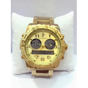 Relógio Atlantis Masculino Dourado Original Dia Dos Pais