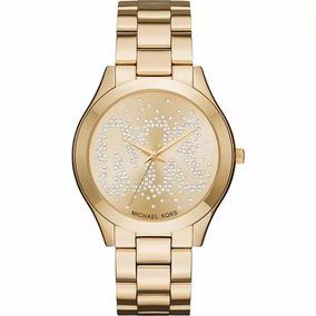 Relógio Michael Kors Luxo Mk3590 Dourado Slim Novo R43
