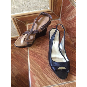 Zapatos Altos/ Tacones Talla 6 1/2 Y 37 Dama Negros Y Marron