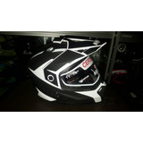 Casco Hro Tipo Cross Doble Visor Oscuro (gafas) Y Transparen