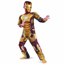 Fantasia Roupa Homem De Ferro Iron Man Dourada Longa +brinde