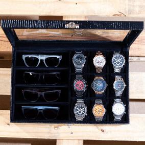 Estojo Caixa Maleta Porta 9 Relógios 4 Óculos Várias Cores