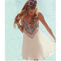 Vestido Playa Traje De Baño Bikini Gasa Blanco Cafe Rosa