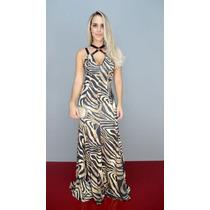 Vestido Lança Perfume Longo Estampado Animal Mix Oi17