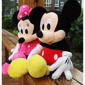 Pelucia Mickey E Minnie Laço Rosa 30cm + Brinde