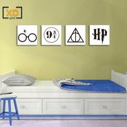 Kit 4 Placas Harry Potter Filme Pictograma Plataforma 9 3/4 - 20x20cm