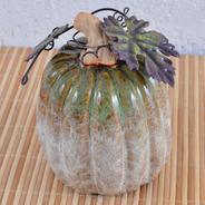 Abóbora Decorativa De Porcelana Galhos E Folhas De Metal