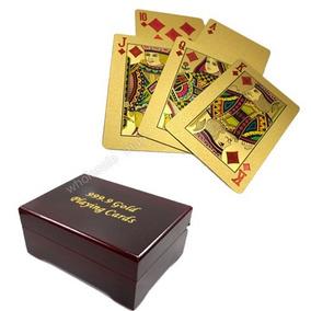 Baralho Folheado Ouro 24k Poker Canastra Blackjack Com Caixa