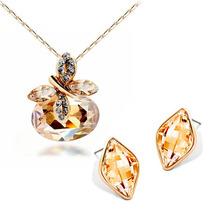 Collar Mariposa Swarovski Element Cristal Austriaco + Aretes