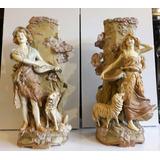 Hermoso Par De Figuras Floreros De Porcelana Faiance Austia